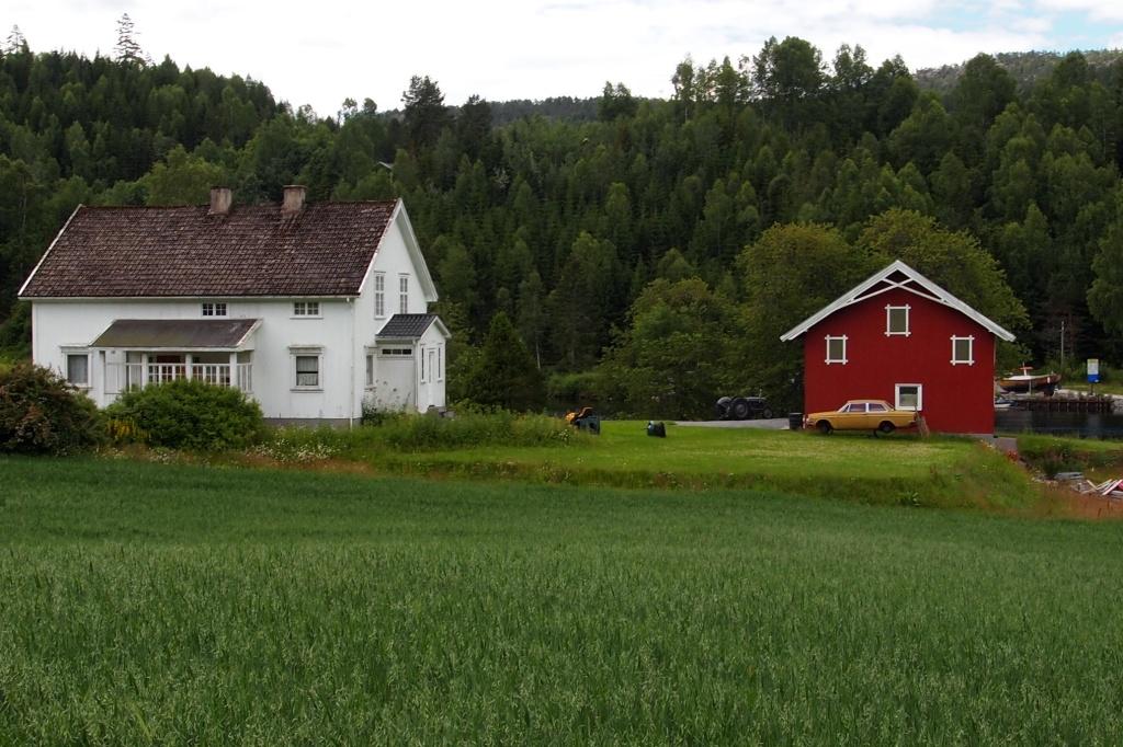 Norwegische Holzhäuser.